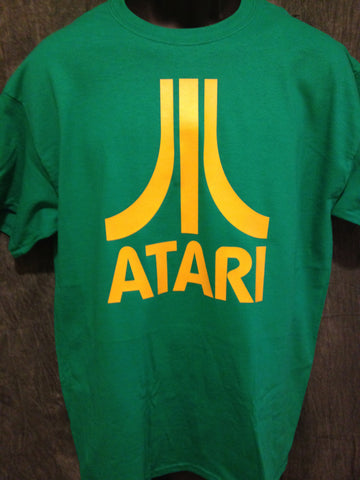Atari Logo Tshirt: Green With Yellow Print