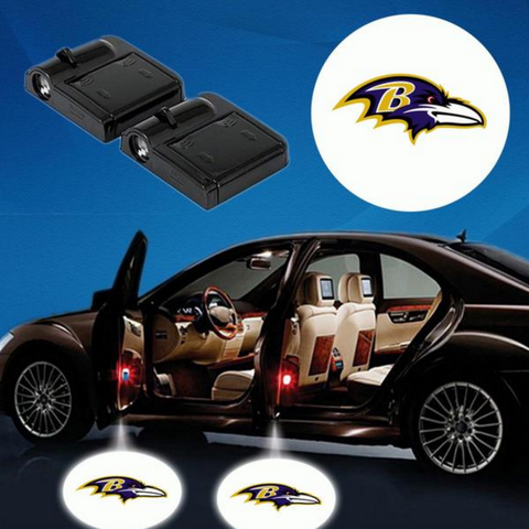 2 NFL BALTIMORE RAVENS WIRELESS LED CAR DOOR PROJECTORS