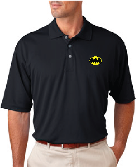 Batman classic logo knit polo tshirtnow for Corporate polo shirts with logo
