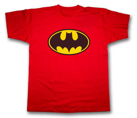 Batman Two Color Classic Logo on Red Tshirt