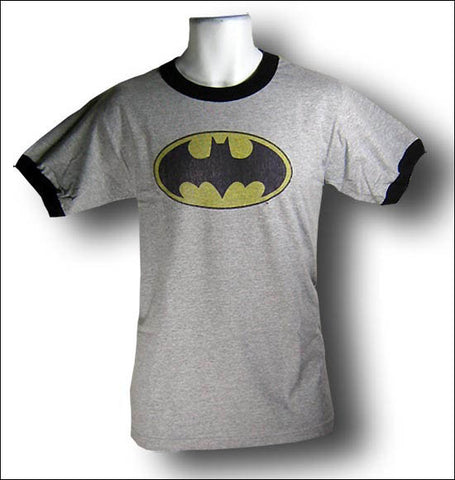Batman Logo Heather Grey Ringer Tshirt