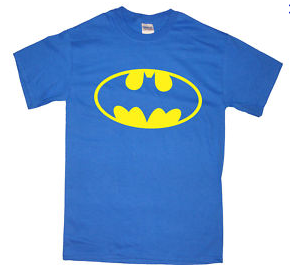 Batman One Color Classic Logo on Light Blue Tshirt