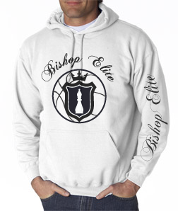 "Bishop Elite ""Logo"" Hoodie: White With Black Print - TshirtNow.net"