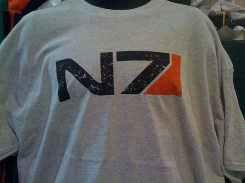 Mass Effect 2 N7 Vintage Worn Look Ash Colored Shirt