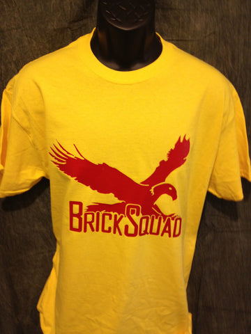 Brick Squad Tshirt: Yellow With Red Print