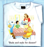 Childhood Buds and Suds for Dinner Adult White Tshirt - TshirtNow.net - 2