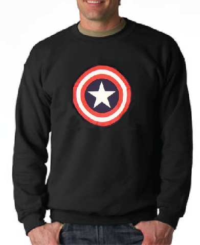 OFFICIALLY LICENSED Captain America Shield Logo Black Crewneck Sweatshirt
