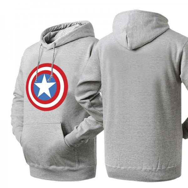 Captain America Shield Logo Ash Colored Hoodie Sweatshirt - TshirtNow.net - 1