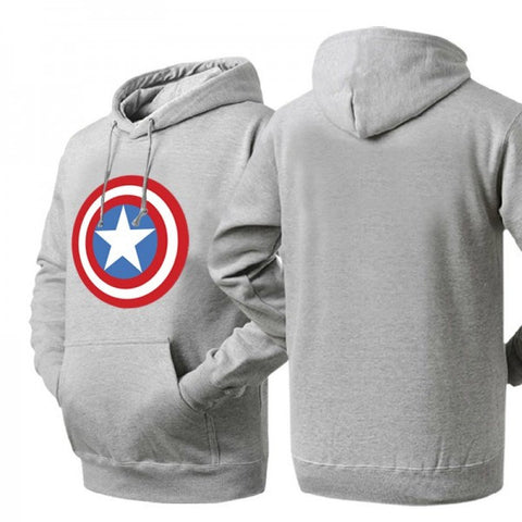 Captain America Shield Logo Ash Colored Hoodie Sweatshirt