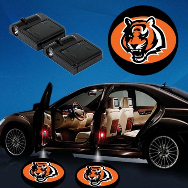 2 NFL CINCINNATTI BENGALS WIRELESS LED CAR DOOR PROJECTORS