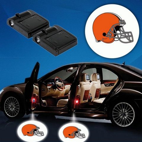 2 NFL CLEVELAND BROWNS WIRELESS LED CAR DOOR PROJECTORS