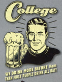 College: We drink more before 9am than most people drink all day! Retro Spoof tshirt: Ash Colored T-shirt - TshirtNow.net - 2