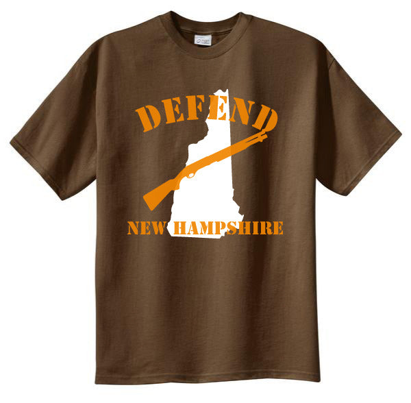 Defend New Hampshire Tshirt: Brown With White and Orange Print - TshirtNow.net