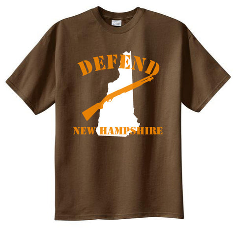 Defend New Hampshire Tshirt: Brown With White and Orange Print