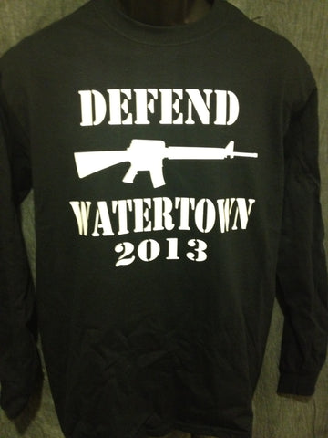 Defend Watertown 2013 Longsleeve Tshirt: Black With White Print