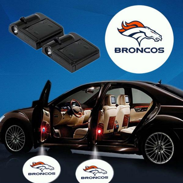 2 NFL DENVER BRONCOS WIRELESS LED CAR DOOR PROJECTORS