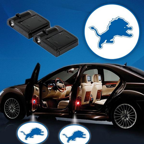 2 NFL DETROIT LIONS WIRELESS LED CAR DOOR PROJECTORS