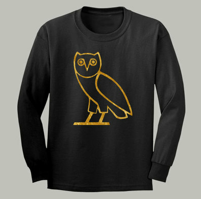 Ovo Drake October's Very Own Ovoxo Owl Gang Longsleeve Black Tshirt