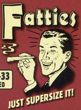 Fatties: Just supersize it! Retro Spoof tshirt: Brick Red Colored T-shirt - TshirtNow.net - 2
