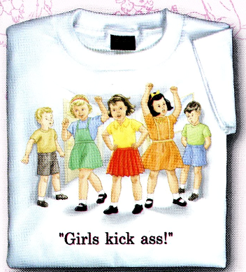 Childhood Girls Kick Ass! White Tshirt