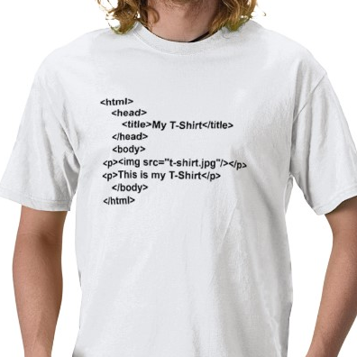 Html Tshirt: White With Black Print - TshirtNow.net