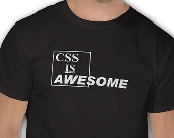 Css is Awesome Black Tshirt White Print - TshirtNow.net