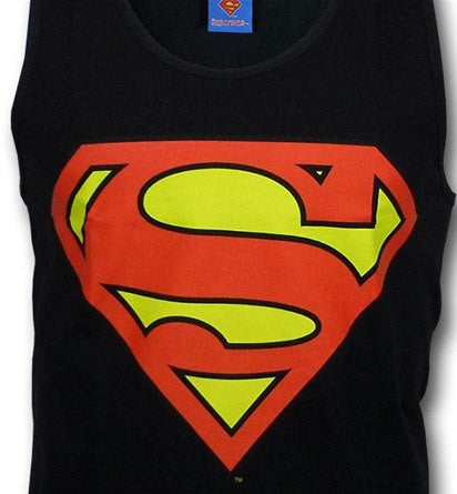 Superman Classic Logo Symbol Black Men's Tank Top - TshirtNow.net - 1