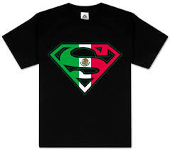 Superman Mexican Flag Logo Black Tshirt - TshirtNow.net - 1