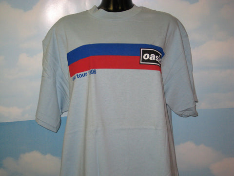 Oasis 1996 Tour Racer Stripe Adult Blue Size XL Extra Large Tshirt