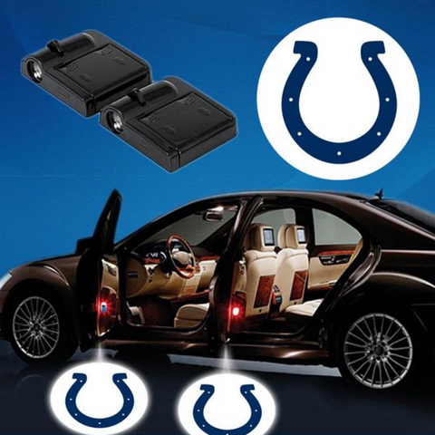2 NFL INDIANAPOLIS COLTS WIRELESS LED CAR DOOR PROJECTORS