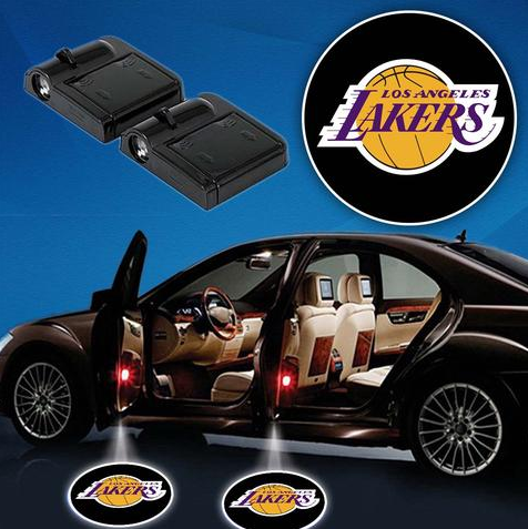 2 NBA LOS ANGELES LAKERS WIRELESS LED CAR DOOR PROJECTORS