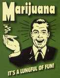Marijuana It's a lungful of fun Retro Spoof t-shirt: Kelly Green Colored Tshirt - TshirtNow.net - 2