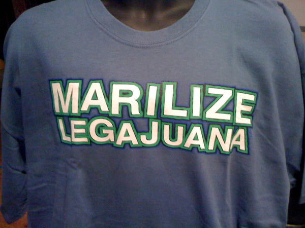 Marilize Legajuana Tshirt: Blue Tshirt With White and Green Print - TshirtNow.net - 1