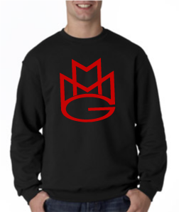 Maybach Music Crewneck Sweatshirt:Black with Red Print