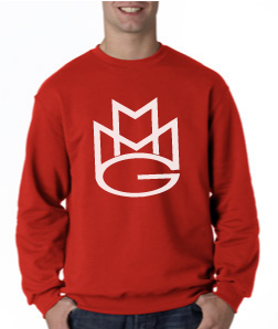 Maybach Music Crewneck Sweatshirt:Red with White Print