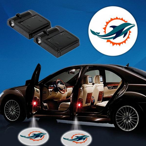 2 NFL MIAMI DOLPHINS WIRELESS LED CAR DOOR PROJECTORS