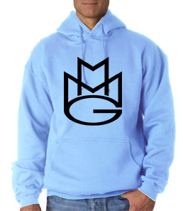 Maybach Music Group MMG Hoodie: Baby Blue with Black Print
