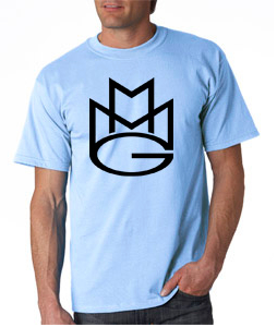 Maybach Music Group Mmg Tshirt: Baby Blue With Black Print