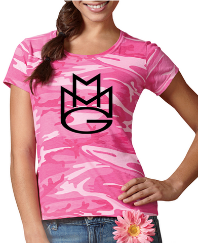 Maybach Music Group MMG Tshirt: Pink Camoflage with Black Print Ladies Tee