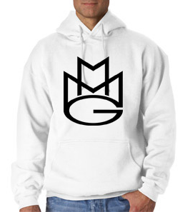 Maybach Music Group MMG Hoodie: White with Black Print