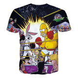 Homer Simpson versus Bugs Bunny Animated Characters Allover Print Tshirt - TshirtNow.net - 2