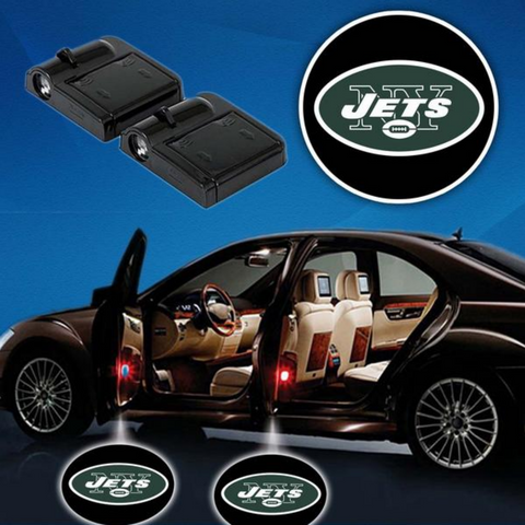2 NFL NEW YORK JETS WIRELESS LED CAR DOOR PROJECTORS