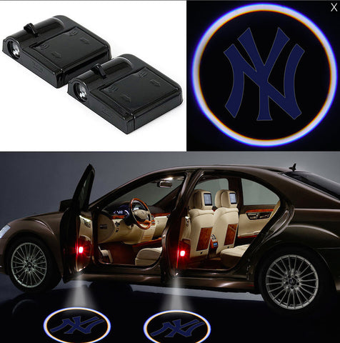 2 MLB New York Yankees Wireless LED Car Door Projectors B