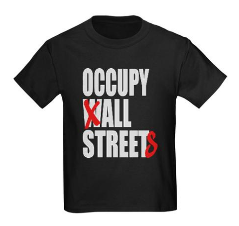 Occupy All Streets Tshirt: Black With White and Red Print