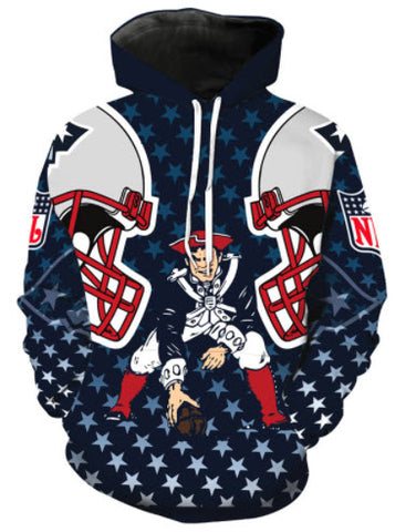 New England Patriots Throwback Allover 3D Print Hoodie
