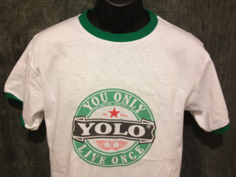 Drake Yolo Girls Ringer Tshirt: Yolo Print on Green Womens Ringer Tshirt
