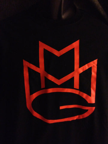 Maybach Music Group Tshirt: Black With Orange Print