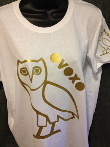 Ovo Drake October's Very Own Ovoxo Owl Gang Girls Tshirt: Gold Print on White Womens Tshirt