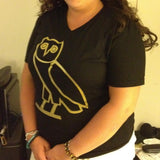 Ovo Drake October's Very Own Ovoxo Owl Gang Girls Tshirt: Classic Gold Print on Black Womens Tshirt - TshirtNow.net - 1