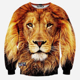 3D Allover Print Lion Face Crewneck Sweatshirt - TshirtNow.net - 1